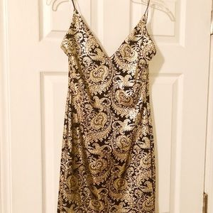 Gold and Black Detail Cocktail Dress